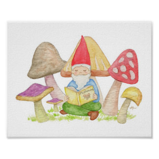 Gnome with Mushroom Book art print