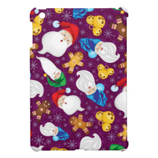 Gnomes and gingerbread men in snowflakes iPad mini case