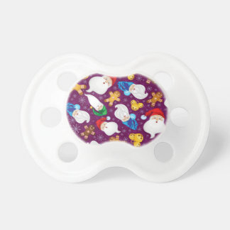 Gnomes and gingerbread men in snowflakes pacifier