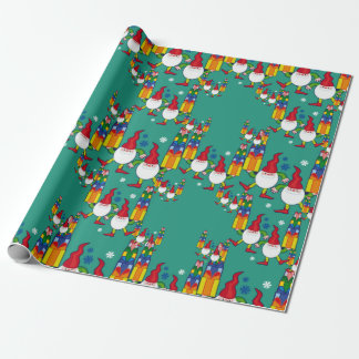 Gnomes and presents wrapping paper