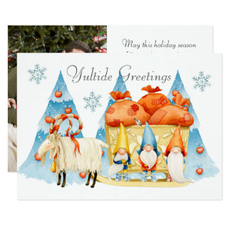 Gnomes and Silly Reindeer Photo Christmas Card