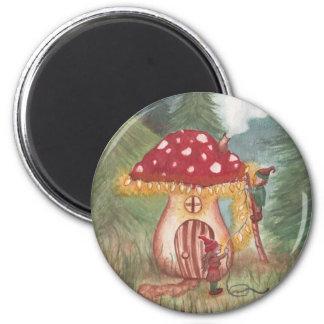 Gnomes de vacances et maison de champignon magnet rond 8 cm