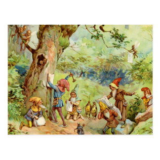 Gnomes Elves and Fairies in the Magical Forest Postcard