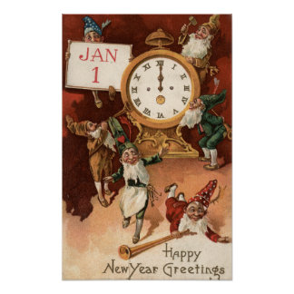 Gnomes Partying Around a Clock Poster