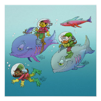Gnomes riding on fish, on poster. perfect poster