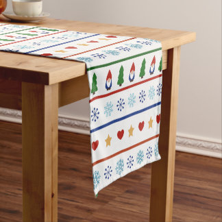 Gnomes & Snowflakes Christmas Pattern Short Table Runner
