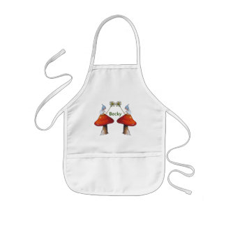 Gnomes with Daisies, Toadstools, Personlize Kids Apron