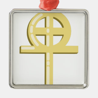 Gnostic Cross Silver-Colored Square Ornament