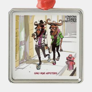 Gnu Age Hipsters Funny Silver-Colored Square Ornament