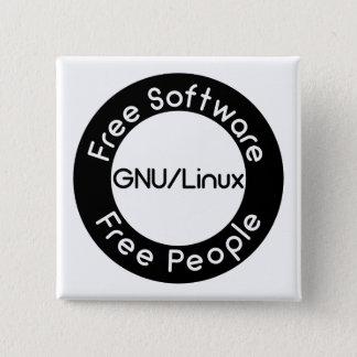GNU/Linux 2 Inch Square Button