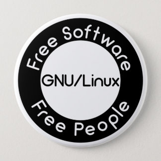 GNU/Linux 4 Inch Round Button