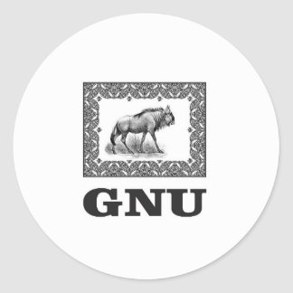 Gnu power art classic round sticker