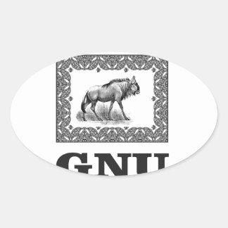 Gnu power art oval sticker