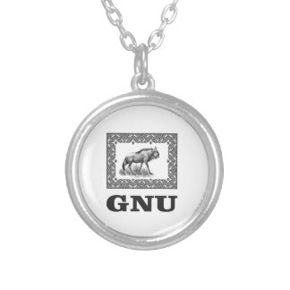 Gnu power art silver plated necklace