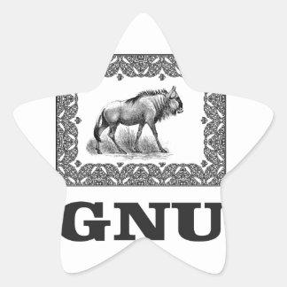 Gnu power art star sticker