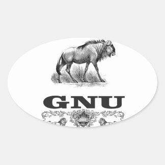 gnu power oval sticker