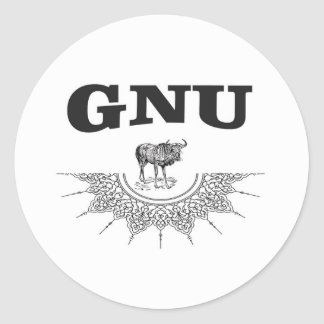 gnu wing classic round sticker