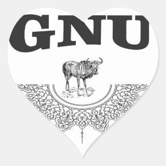 gnu wing heart sticker