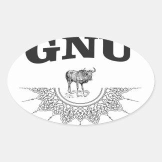 gnu wing oval sticker