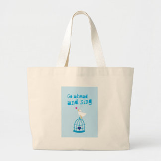 Go Ahead and sing happiness greeting card Large Tote Bag
