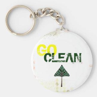 go clean basic round button keychain