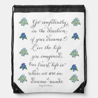 Go confidently inspirational typography quote drawstring bag