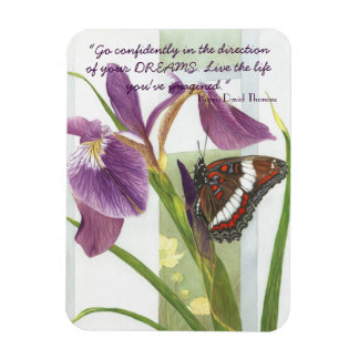 Go Confidently....- Purple Iris & Butterfly Magnet