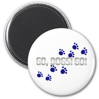 go, dogs! go! with blue paw prints magnet