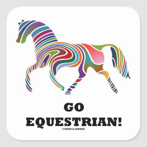 Go Equestrian! (Horse Color Swirl) Square Sticker