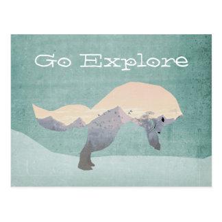 Go Explore Fox Postcard