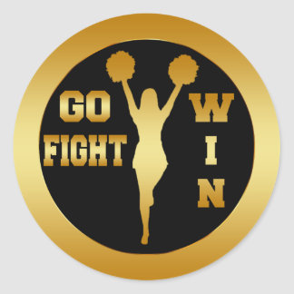GO FIGHT WIN GOLD CHEERLEADER CLASSIC ROUND STICKER