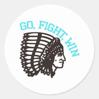 Go Fight Win Round Sticker