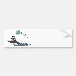 """""""Go Fish"""" Penguin Bumper Sticker"""