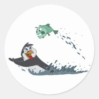 """Go Fish"" Penguin Round Sticker"