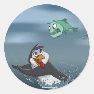 """""""Go Fish"""" Penguin w/Background Round Sticker"""