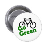 go green bicycle 2 inch round button
