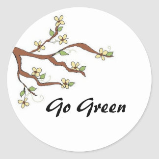 Go Green  Branch with Buds Classic Round Sticker
