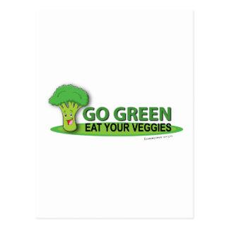 Go Green Eat Your Veggies Postcard