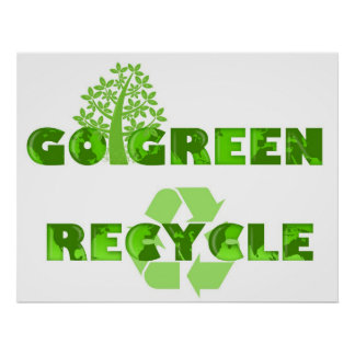 Go Green Eco Tree Recycle Illustration Poster