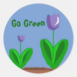 Go Green Flower Garden Round Sticker