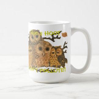 Go Green Give a Hoot! Vintage Owls Coffee Mug