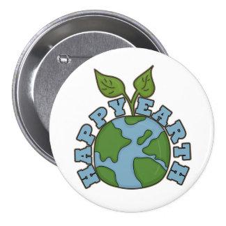 Go Green Happy Earth World Pin Button