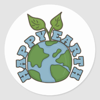 Go Green Happy Earth World Sticker Seals