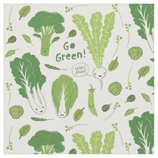 Go Green! Leafy Green! Happy Garden Veggies Fabric