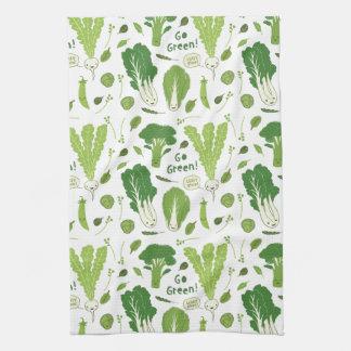 Go Green! Leafy Green! Happy Garden Veggies Hand Towel