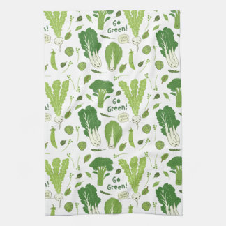 Go Green! Leafy Green! Happy Garden Veggies Kitchen Towel