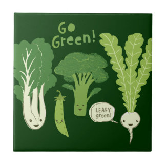 Go Green! (Leafy Green!) Happy Garden Veggies Tile