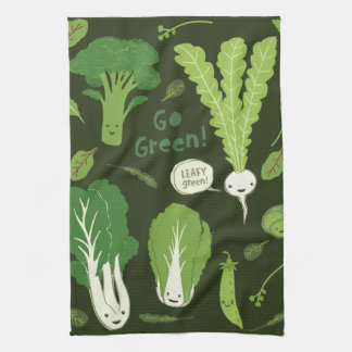 Go Green! (Leafy Green!) Happy Veggies Hand Towel