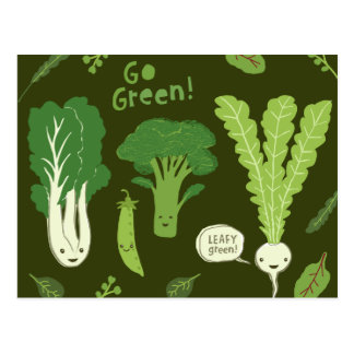 Go Green! (Leafy Green!) Healthy Garden Vegetables Postcard