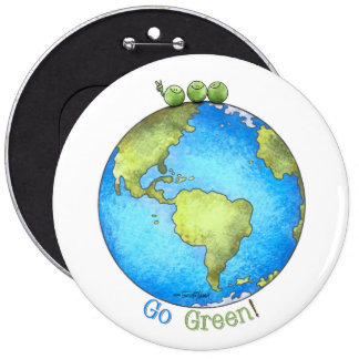 Go Green - Peace on Earth button